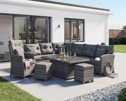 grey large rattan garden corner sofa