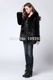 warm winter thick fur thick lining women faux fur coat medium long hooded rabbit fur