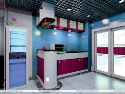 blue kitchen decorating ideas with purple color combination