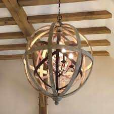 wooden chandelier lighting. Simple Chandelier Large Round Wooden Orb Chandelier With Metal Detail And Crystal Droplets In Lighting R