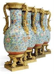 a set of four empire ormolu-<b>mounted chinese</b> porcelain baluster vases