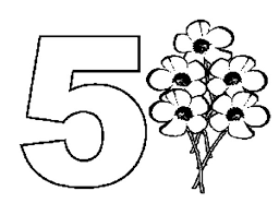 Small Picture Learn Number 5 with Five Flowers Coloring Page Learn Number 5