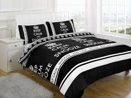 Snooze Bedroom Furniture Keep Calm And Snooze Black Double Bed Polycotton Duvet Cover Set