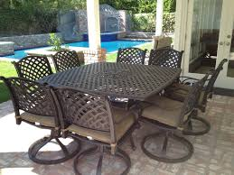 nassau cast aluminum powder coated 9pc outdoor patio dining set with 64 x64 square table antique bronze
