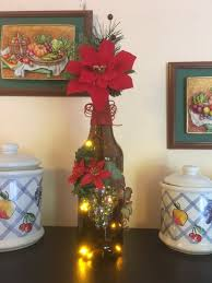 light up beer bottle with poinsettia