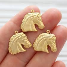 2pc horse charm gold horse head pendant animal charms gold charms dangle charms horse head charm bracelet charms earrings dangle