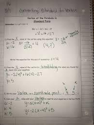 converting standard form into vertex form practice