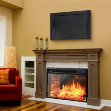 electric fireplace freestanding with led tv and red sofa also cushion