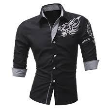 Designer Shirts For Men Mens Fashion Totem Printing Long Sleeve Casual Designer Shirts