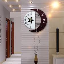 silent clock for bedroom. creative large wooden silent quartz wall clock star moon 3d wall clocks living room bedroom home decor for o