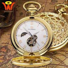 gold mechanical pocket fob moon watch montre vintage pendant watch necklace clock men antique mechanical hand wind chain watches swiss watch automatic watch