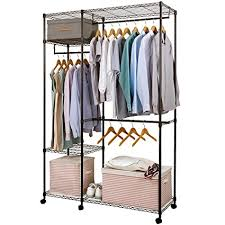 Rolling Coat Rack With Shelf Amazing Amazon Lifewit FreeStanding Closet Garment Rack Heavy Duty