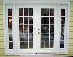 white color exterior wood double french doors with sidelights for rustic house design with light yellow wood wall painted exterior color decor ideas