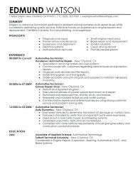 Mechanic Resume Templates Automotive Technician Resume Sample Free