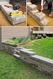 1 construct it with concrete blocks and then adorn it with stone facade they varying heights add interest to the garden