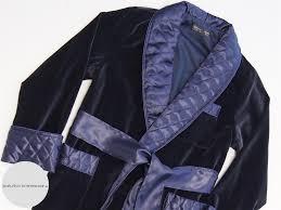 Navy Blue Cotton Velvet Men's Dressing Gown - Baturina Homewear & cotton velvet mens dressing gown navy blue long warm smoking jacket robe  quilted silk Adamdwight.com
