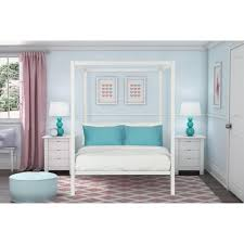dhp modern metal twin canopy bed in white  ebay