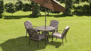 luxury wood effect padded 4 seater 6 piece metal garden dining set table 4 chairs