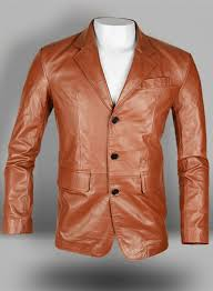 tan brown leather blazer