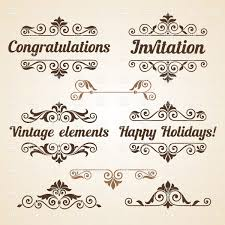 Vintage Design Curly Vintage Design Elements With Text Stock Vector Image