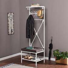 White Coat Rack With Storage Bench Storage Coat And Shoe Hallway Entryway Bench Regarding Rack 2