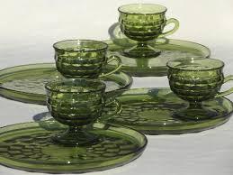 whitehall colony glass cube snack sets cups plates retro avocado green glassware