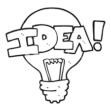 Freehand drawn black and white cartoon idea light bulb symbol