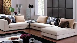 ... New Sofa Designs Creamy Colour L Shaped Double Function Some Patter  Throw Pillows Wooden Floor Potted ...