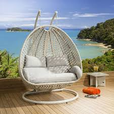 hanging chair. Luxury Outdoor 2 Person Garden Pod Hanging Chair Swing Stone Grey New