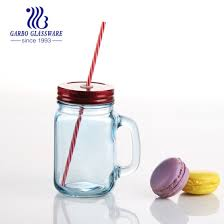 500ml colored glass mason jar with lid and straw gb2517 qpb
