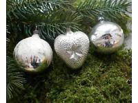 4 Alte Christbaumkugeln Silber 40er 50er Jahre Geschenkanhänger