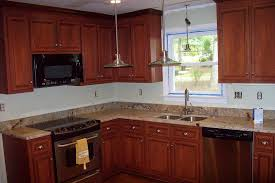 cherry laminate reface with granite countertop