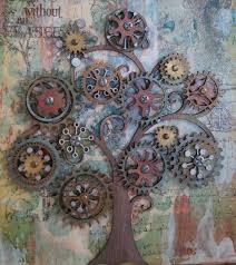 cog tree canvas close up  on steampunk wall art diy with steampunk wall tree diy pinterest walls steam punk and punk