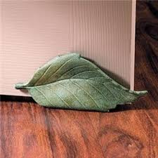 Green leaf cast iron decorative door stop home decor new