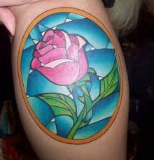 stain glass style rose tattoo disney s beauty and the beast