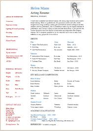 Acting Resume Example Best Acting Resume Template Build Your Own Resume Now