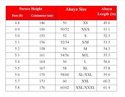Abaya Hooha Abaya Size Chart