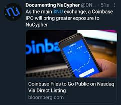 Bloomberg reported that the private. Coinbase Ipo Via Direct Listing Will Bring A Lot Of Attention To It S Platform Can Only Be Good For Nu Nucypher