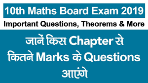cbse 10th maths board exam 2019 important solved questions theorems topics chapter wise weightage ncert