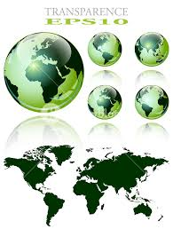 3d World Map Over The Earth Globe 4 Different Views Vector