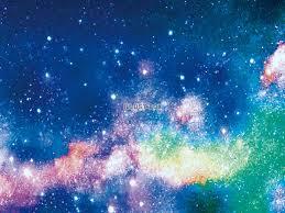 無料イラスト 天の川七夕背景宇宙夏星空手書きシルエット7月