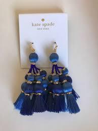 nwt 98 kate spade pretty poms blue tardis silk tassel chandelier earrings