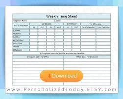 Printable Weekly Time Sheet Instant Digital Download Track And Total Hours In Out And Overtime Also Includes Employee Office Notes Areas