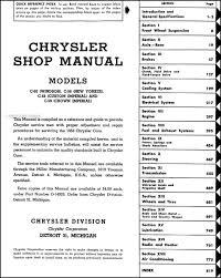 1953 chrysler repair shop manual original 1946 Chrysler Windsor table of contents