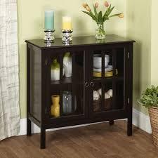 glass door cabinet wood metal shelves 2 two storage dishes serving linen black