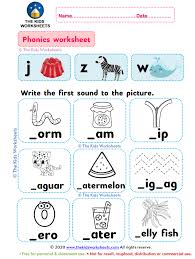 Free interactive exercises to practice online or download as pdf to print. Phonics Worksheet J Z W The Kids Worksheets
