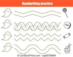 Handwritting Practice Halloween Handwriting Practice Sheet Educational Children Game Printable Worksheet For Kids