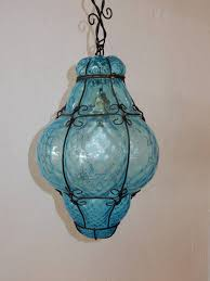 hollywood regency italian cage art glass pendant lamp by seugso in aqua blue for