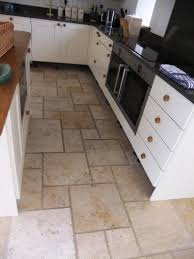travertine kitchen floor before cleaning