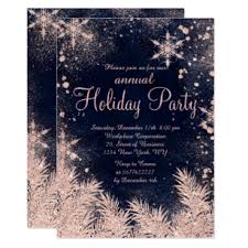 Corporate Holiday Party Invite Rose Gold Blue Snowflake Winter Corporate Holiday Invitation